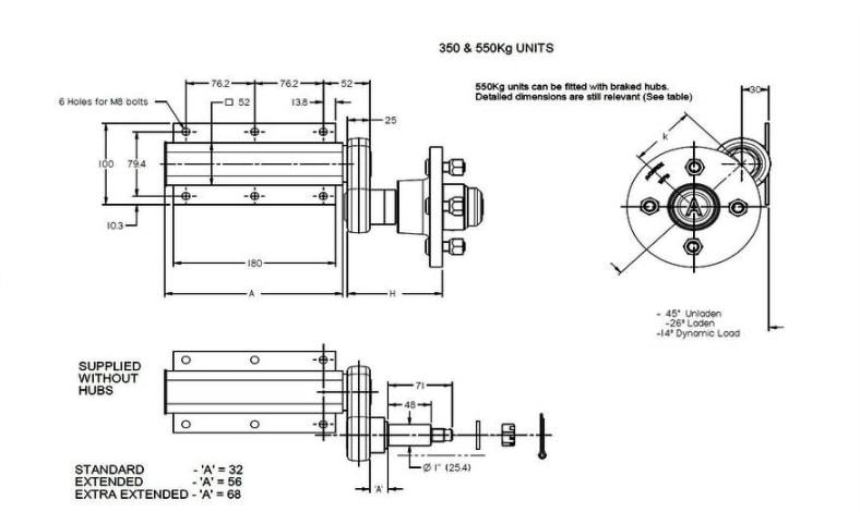 genuine knott avonride 350kg extend  stub trailer suspension units 108mm pcd hubs