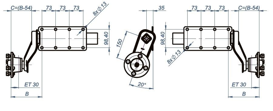 high quality 750kg trailer suspension units  u0026 4x100mm pcd sealed for life hubs